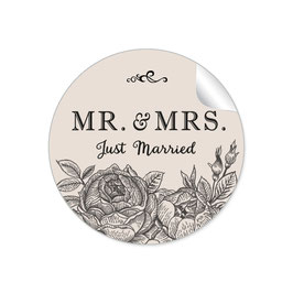 """MR. and MRS.  - Just married"" - Rosen- beige / creme"