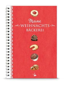 "DIN A5 KREATIV DIY BACKBUCH ""Meine Weihnachtsbäckerei"" zum Selbstbeschreiben rot (Spiralgebunden)"