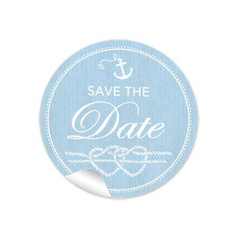 """Save the Date"" - Maritim Anker Herz blau"