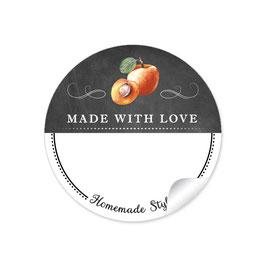 MADE WITH LOVE- HOMEMADE STYLE APRIKOSE - Kreidetafel schwarz weiß - mit Freitextfeld BREIT