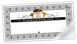 """10 Sticker rechteckig groß -""""Handmade with Love""""- Pilze gemischt Ornamente - mit Freitextfeld"""