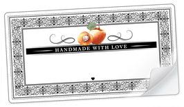 """10 Sticker rechteckig groß -""""Handmade with Love""""- Aprikose Ornamente - mit Freitextfeld"""