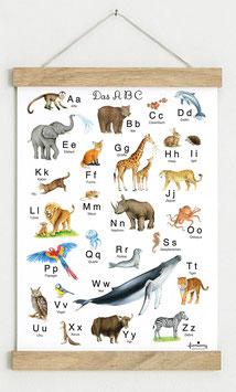 Din A3 WEIß • ABC Poster Lernposter Tiere Alphabet Kinderzimmer Tierposter Zoo Wald Safari Afrika Tiere Für Kindergarten, zum Schulanfang & 1. Klasse