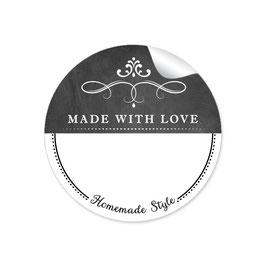 MADE WITH LOVE- HOMEMADE STYLE ORNAMENTE - Kreidetafel schwarz weiß - mit Freitextfeld BREIT
