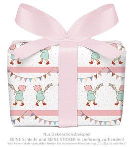 3 Bögen Geschenkpapier groß - WICHTEL GIRLANDE - ROSA WEIß