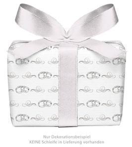 3 Bögen Geschenkpapier groß - Eheringe - gedruckt auf PEFC zertifiziertem Papier, 50 x 70 cm