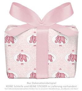 3 Bögen Geschenkpapier groß - ELEFANT ORNAMENTE - ROSA