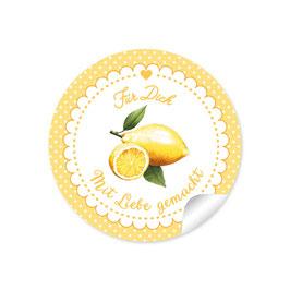 """""""Für Dich - Mit Liebe gemacht""""- Zitrone - Punkte gelb"""