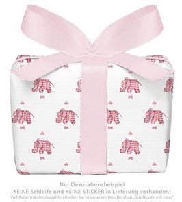 3 Bögen Geschenkpapier groß - ELEFANT - ROSA WEIß