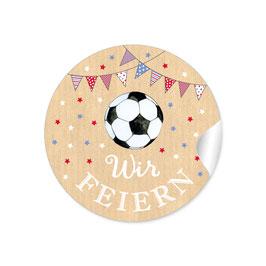 """""""Wir feiern"""" - Fußball mit Girlande -  natur rot blau weiß"""