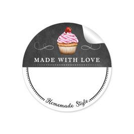 MADE WITH LOVE- HOMEMADE STYLE CUPCAKE - Kreidetafel schwarz weiß - mit Freitextfeld BREIT