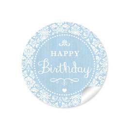 """Happy Birthday"" - Shabby Chic -blau"