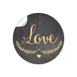 """LOVE"" - Kreidetafel - schwarz gelb"