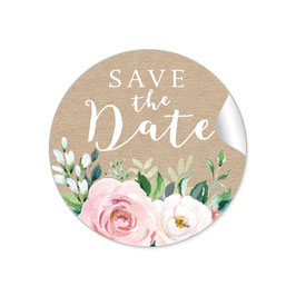 """Save the Date"" - Eukalyptus Kraftpapier Look Rosen rosa weiß"