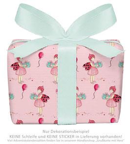 3 Bögen Geschenkpapier groß - GLÜCKSKÄFER- ROSA
