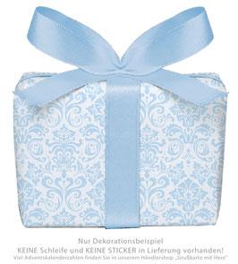 3 Bögen Geschenkpapier groß - ORNAMENTE - BLAU