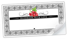 """10 Sticker rechteckig groß -""""Handmade with Love""""- Johannisbeere rot Ornamente - mit Freitextfeld"""