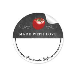 MADE WITH LOVE- HOMEMADE STYLE TOMATE - Kreidetafel schwarz weiß - mit Freitextfeld BREIT
