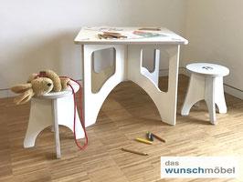 Kindersitzgruppe, Tisch + 2 Hocker