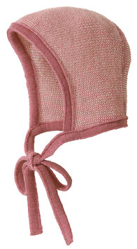 DISANA Bonnet béguin bébé laine Mérinos, rose