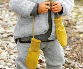 DISANA Moufles bébé laine bouillie, curry