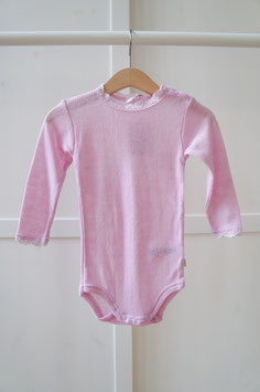 """JOHA Body bébé """"dentelle"""" laine Mérinos et soie, rose pâle"""