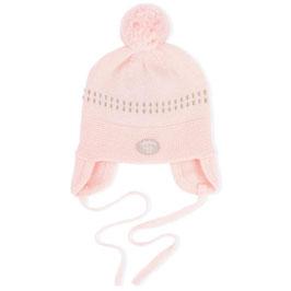 LILLELAM Bonnet bébé avec pompon, laine Mérinos, rose clair
