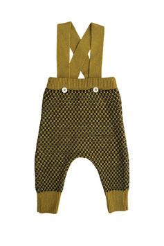 MABLI Pantalon à bretelles Ceri miner laine Mérinos, curry/marine