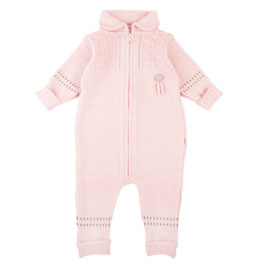 LILLELAM Combinaison bébé en laine Mérinos, rose clair