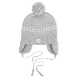 LILLELAM Bonnet bébé avec pompon, laine Mérinos, gris