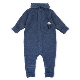 LILLELAM Combinaison bébé en laine Mérinos, bleu foncé