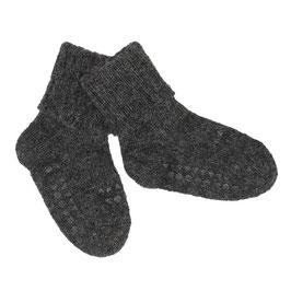 GOBABYGO Chaussettes antidérapantes pour bébé en alpaga, gris foncé