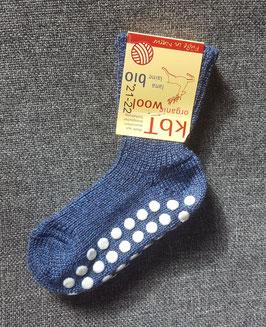HIRSCH NATUR Chaussettes épaisses antidérapantes pour bébé enfant en laine, bleu chiné 78227