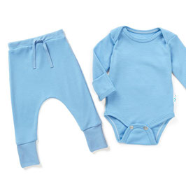 Pack laine SUPERLOVE bleu clair bébé 1 body 1 pantalon large