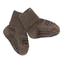 GOBABYGO Chaussettes antidérapantes pour bébé en laine, marron