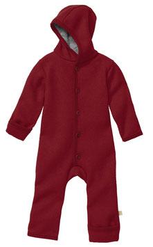 DISANA Combinaison bébé à capuche, laine bouillie, bordeaux