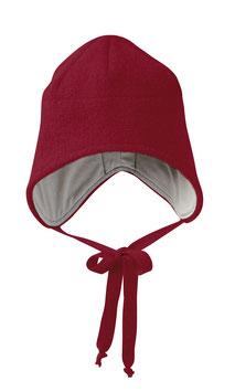 DISANA Bonnet bébé enveloppant, laine bouillie, bordeaux