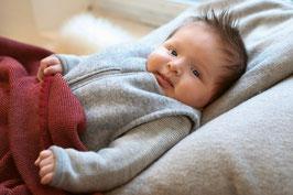 DISANA Gigoteuse bébé en laine bouillie, gris chiné