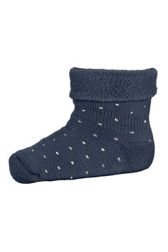 MP DENMARK Chaussettes épaisses pour bébé en laine Mérinos, bleu nuit à pois 498