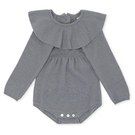 KONGES SLØJD Body bébé en laine Mérinos avec col volanté, bleu gris