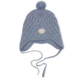 LILLELAM Bonnet bébé avec petit pompon, laine Mérinos doublée, bleu moyen