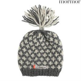 """MORMOR Bonnet bébé enfant """"Knud"""" laine avec pompon, gris"""