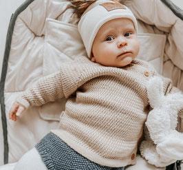 VOKSI Pull bébé en laine Mérinos, ouverture sur le côté, beige