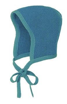 DISANA Bonnet béguin bébé laine Mérinos, bleu lagon