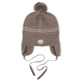 LILLELAM Bonnet bébé avec pompon, laine Mérinos, marron