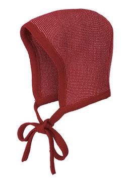 DISANA Bonnet béguin bébé laine Mérinos, bordeaux/rose