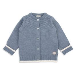 LILLELAM Cardigan bébé et enfant en laine Mérinos, bleu moyen