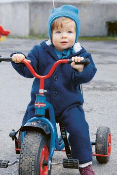 DISANA Combinaison bébé à capuche, laine bouillie, bleu marine