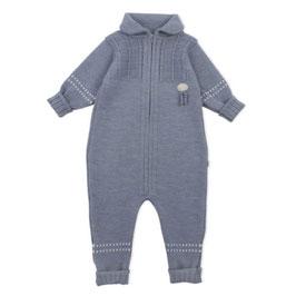 LILLELAM Combinaison bébé en laine Mérinos, bleu moyen