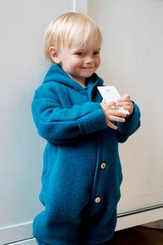 ENGEL Combinaison bébé à capuche laine polaire, bleu pétrole